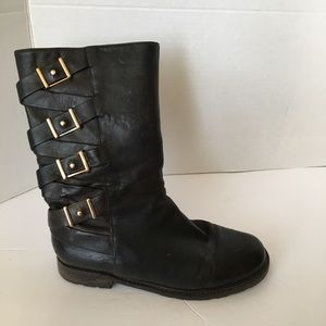 Via spiga black leather boots size 6.5